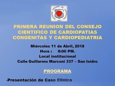 PRIMERA REUNION DEL CONSEJO CIENTIFICO DE CARDIOPATIAS CONGENITAS Y CARDIOPEDIATRIAS