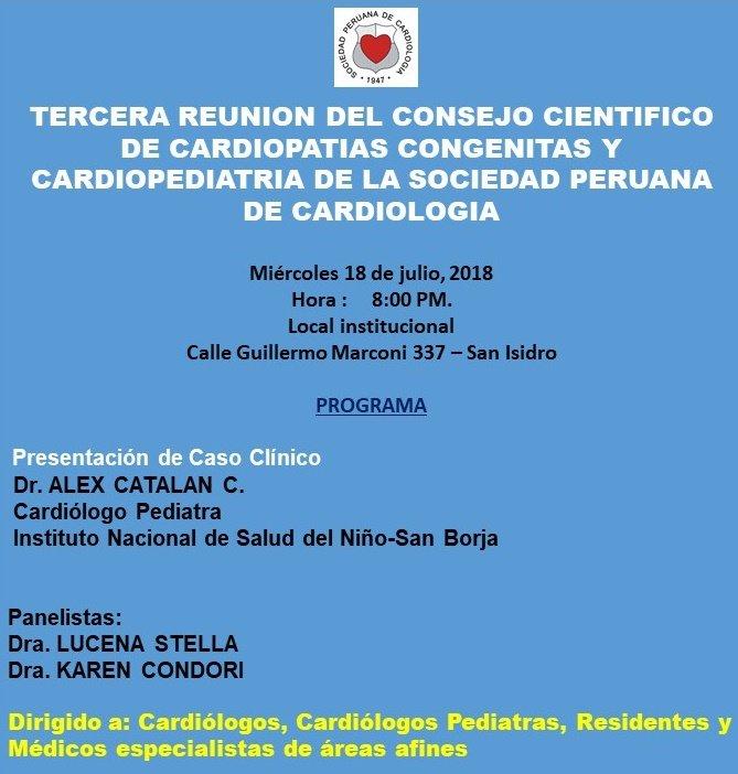 Tercera Reunión del Consejo Científico de Cardiopatías Congénitas y Cardiopediatría de la Sociedad Peruana de Cardiología