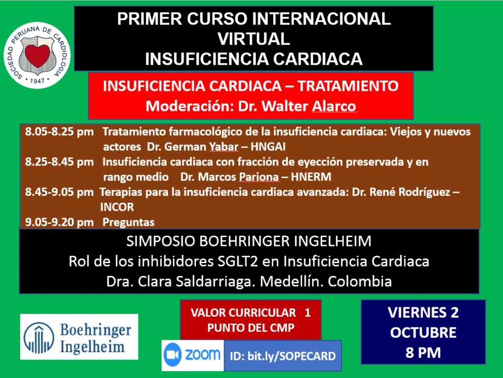 Primer curso internacional virtual – Insuficiencia cardiaca – Octubre 2020